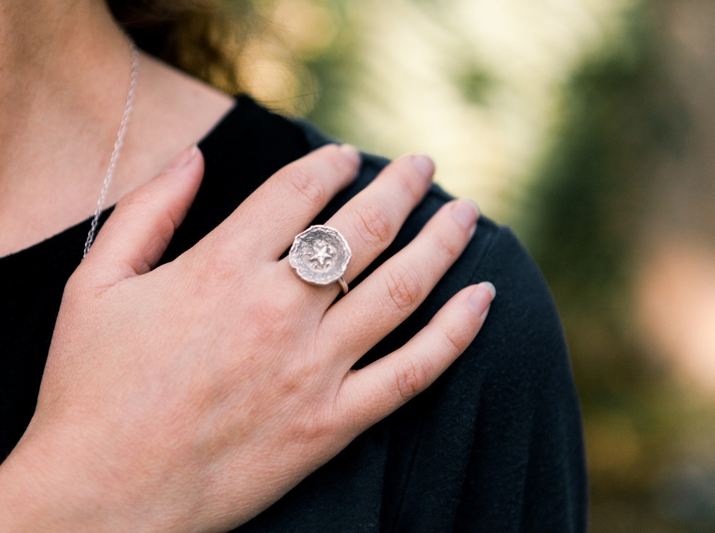 St Silver Button Ring Seed Ring Star Ring Organic Nature