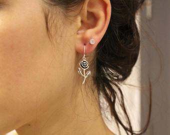 Rose Earrings, Dangle Earrings, Dainty Earrings, Drop Earrings, Flower Earrings, Charm Earrings, Boho Earrings, Earrings For Women