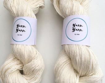 Linen yarn, 200g, handspun yarn, eco yarn, white linen yarn. Flax yarn, knitting, crochet, weaving, fiber arts, jewelry making.