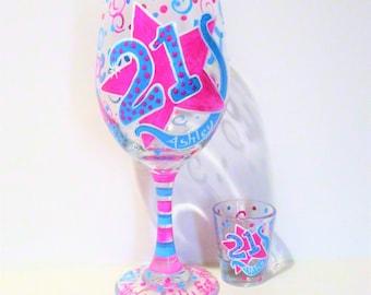 Fabulous 21 Years Old Happy Birthday Hand Painted Wine Glass & Shot Glass Name Age Personalized Pink, Aqua, Glitter, Swirls, Polka Dots