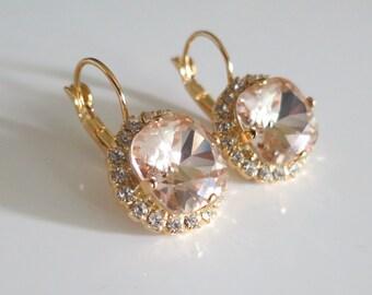 Blush Earrings,Blush Rhinestone jewelry,Crystal Bridal Pink Earrings,Light Silk Swarovski,Peach,Statement,Blush,Prom Jewelry,Wedding Jewelry