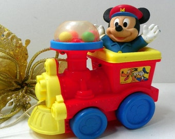 Vintage Mickey Mouse Pull Toy Train Engine Popping Sound