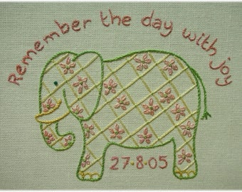 Freestyle embroidery - an Elephant to Remember the Day