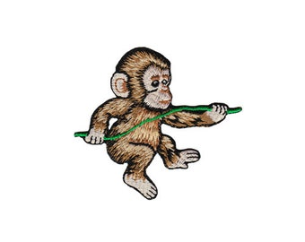bg91 Monkey Baby Animals Zoo Monkey Kids patch ironing application patch patches size 7.8 x 7.1 cm