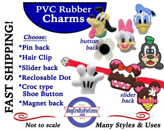 PVC Charms, MORE CHAReCTERS * 20% OFF Any 4 PvC Charms+ShipFREE *Choose back-Button, Pin, Slider, Hair Clip, Reclosable Dot, Magnet