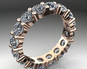 brigitte ring - 4 carat NEO moissanite eternity band, 14k rose gold