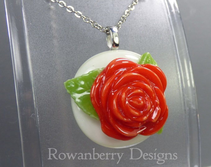 Featured listing image: VINTAGE ROSE - Handmade Fused Glass & Stainless Steel Pendant Necklace - Rowanberry SRA  - art painting- RSFP6