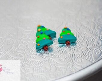 12 x Christmas tree beads flat backs Cabochon