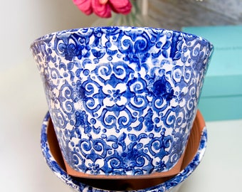 Italian Style Planter with Cobalt Blue and White Design (Ready to Send)