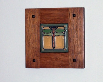 Framed Arts and Crafts Tile-Mission Style Frame-Dragonfly-Home Sweet Home