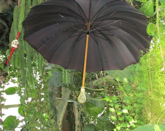 Antique Black Umbrella Carved Lucite Handle