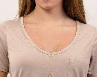 Circle Lariat Necklace, Dainty Y Drop Necklace, Minimal Lariat in 14K Gold Filled by Infini168, I168-307Y