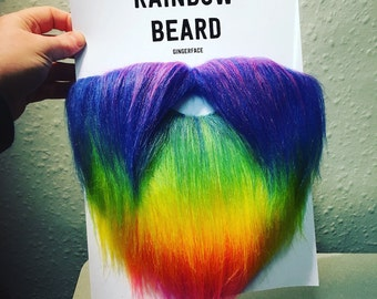 Rainbow Beard, Glorious Faux Fur Hairpiece for your Face, by GingerFace