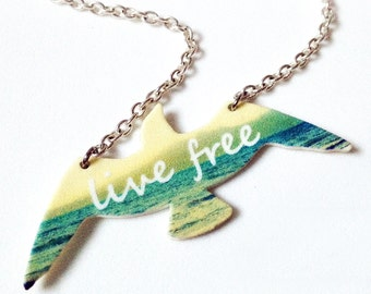 Seagull Bird Live Free Ocean Necklace