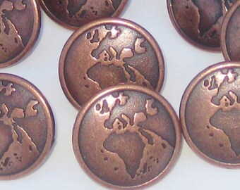 Set 14 MAP ATLAS Picture Vintage New COPPER Metal Buttons