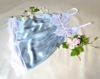 Luxury Honeymoon Sleepwear, Silk Sleepwear, Honeymoon Lingerie, Blue Silk Sleepwear, Honeymoon Pijama, Honeymoon Nightgown, Satin Sleepwear