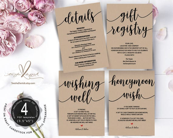 Wedding Insert cards PDF template Instant t