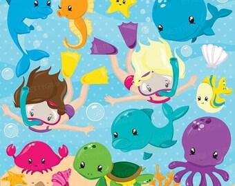 80% OFF SALE Snorkeling kids girl clipart, Scuba diving commercial use, beach vector graphics, ocean digital clip art, CL872