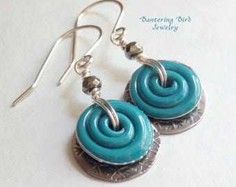 Swirl Earrings, Turquoise Blue Lampwork Glass with Sterling Silver Floral Charm, Unusual Handmade Gift for Mother's Day