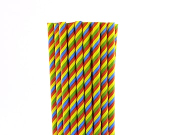 Multi Color Striped Paper Straws-Art Straws-Circus Party-Striped Paper Straws-Carnival Party Straws-Birthday Party Paper Straws