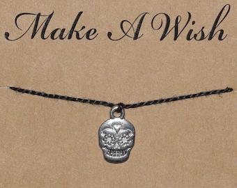 Sugar Skull Wish Bracelet, Buy 3 Items Get 1 Free, Calaveras Charm, Dia De Los Muertos, Day of the Dead