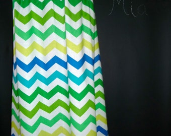 A-line MAXI SKIRT - Floor Length - Michael Miller - Lime green Chevron - Made in ANY Size - Boutique Mia