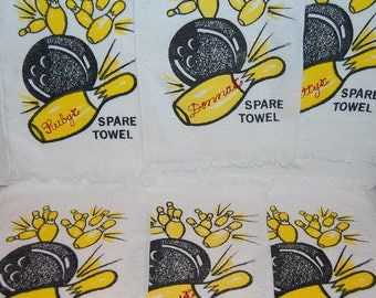 6 Bowling Towels Kitsch Bowling Team Towels Embroidered Names Ruby Donna Betty Janet Terry Faye Unused NOS Made In USA