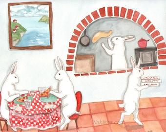 Pizza - Fine Art Rabbit Print