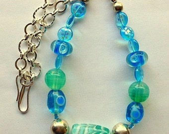 Lampwork Glass Beads and Sterling Silver Chain Necklace - Chunky Turquoise and Blue Necklace