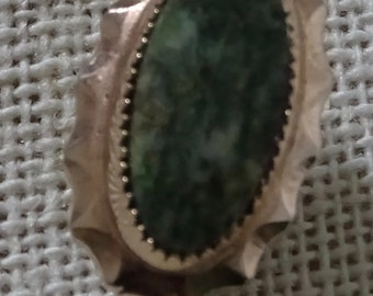 Vintage 12K Gold Filled Stick lapel Pin with green stone