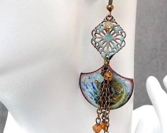 FISHNET bronze dangling copper enameled lampwork semi precious earrings. Blue.