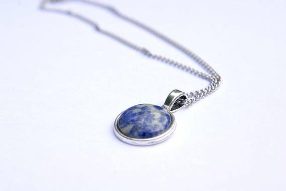 Sodalite Pendant, Sodalite Cabochon, Sodalite Necklace, Stainless Steel Chain, Sodalite Stone, Healing, Spiritual Stone,Crystal healing