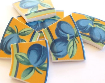 Broken China Mosaic Tiles - Blue Plum Fruit  - Recycled Plate - Set of 6
