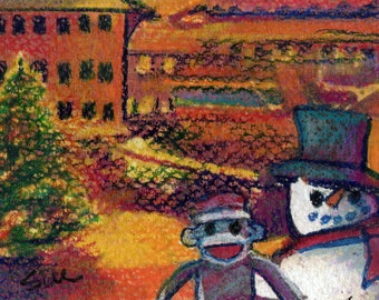 original art  aceo drawing snowman sock monkey tree Times square city scape