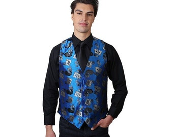 Mens Blue playing cards vest
