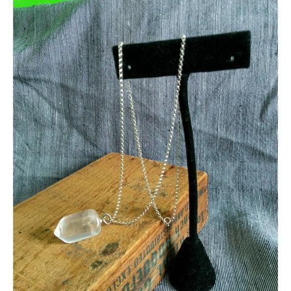 Vintage Lemurian Brazil healing crystal pendant necklace sterling silver