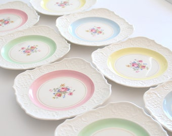 EMBOSSED PLATES, Set of 4, Old English Johnson Bros. Inspired, Cottage Style Tableware, Tea Party, Replacement China