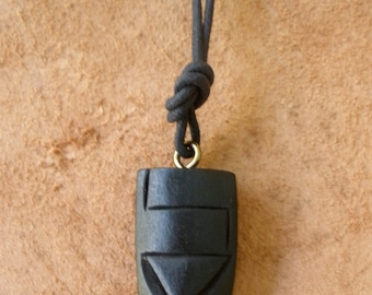 Tiki Black Wood Pendant Necklace on Adjustable Cord Vintage Tikis