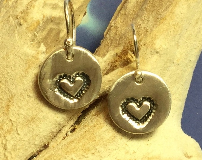 Sterling and Fine Silver Antiqued Heart Earring