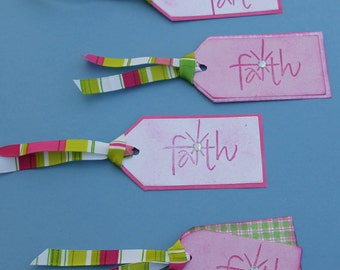 Gift Tags Pink Faith Set of 4