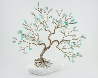Amazonite Gemstone Tree, Amazonite Tree Sculpture, Gem Tree, Tree of Life, Handmade Tree, Lucky Tree