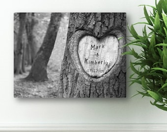 """Personalized Couples Canvas Sign -  Custom Canvas Print -  Personalized Tree Carving Canvas Print - 18"""" x 24"""" - CA0084"""