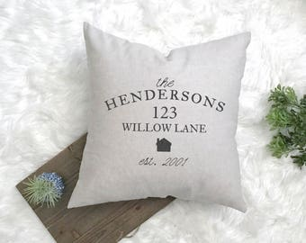 Address Housewarming Gift - New Farmhouse Pillow - Couple First Home Gift - Rustic Housewarming - Custom Address Decor - New Home Pillow