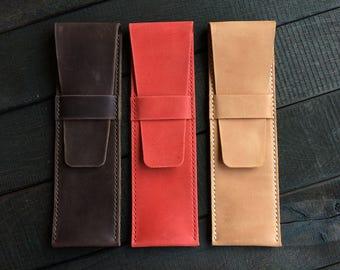 Leather pencil case Pencil case Leather pen case Leather pen pouch