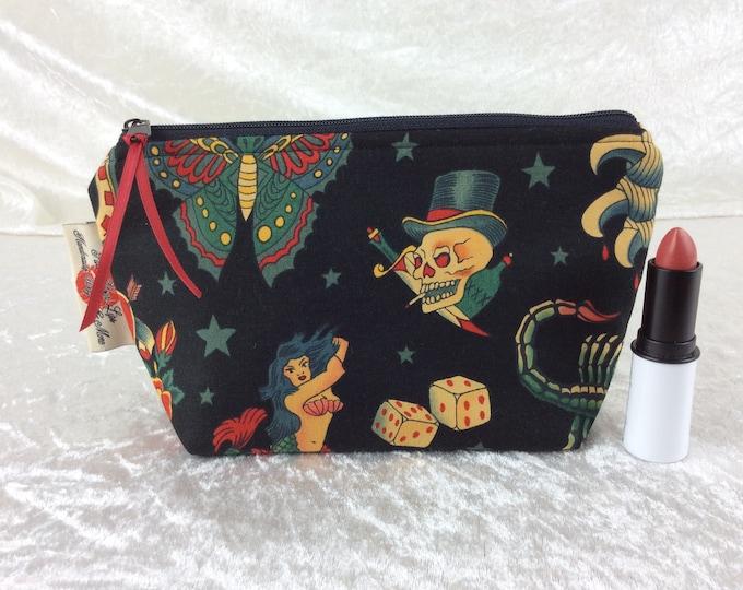 Handmade Zipper Case Zip Pouch fabric bag pencil case purse Alexander Henry Gothic Tattoo