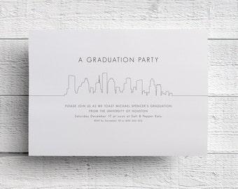 Houston Graduation Invitation, Graduation Party, Graduation Invite, Graduation Dinner, Graduation Announcement, College Graduation