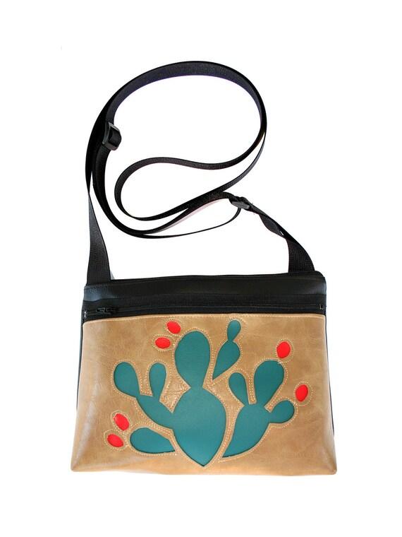 blue cactus, red blooms, tan vinyl, boxy cross body, vegan leather, zipper top