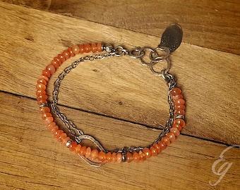 Orange carnelian bracelet. Oxidized 925 sterling silver.