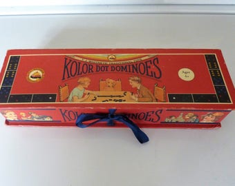 Kolor dot dominoes by T. J.Whitney traditional toys in original box