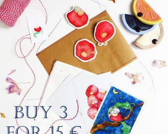 Set of 3 & get a discount surprise box Gift package Small gift package Mystery box Cute brooch Gift box girl Cute illustrations postcards